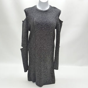 Topshop Gray Ribbed Cold Shoulder Fitted Dress